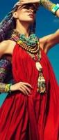 bohem tarzı kırmızı uzun elbise
