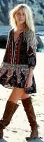 bohem tarzı kısa desenli kısa elbise