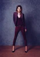 bordo kadın blazer ceket dar paça pantalon topuklu ayakkabı