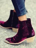 bordo kadife kısa bot çizme