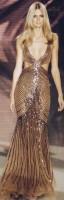 bronz rengi uzun gece abiye elbisesi versace
