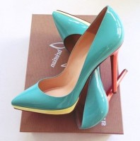 christian louboutin turkuaz yüksek topuklu kadın ayakkabı