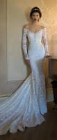 dantel kolları uzun beyaz moda gelinlik