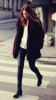 deri siyah pantolon kürk ceket