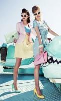 desenli elbise pileli etek kısa bluz retro stili
