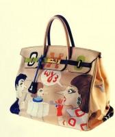 desenli hermes kol çantası