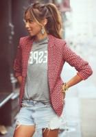 desenli kadın blazer ceket tshirt mini kot şort
