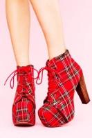 ekose desenli kırmızı siyah Jeffrey Campbell kadın ayakkabı