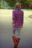 ekose gömlek tarz taba uzun çizme bot kadın