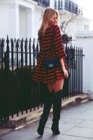 ekose uzun gömlek kadın siyah çanta uzun diz üstü çizme bot