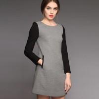 elbise gri siyah uzun kollu mini kadın