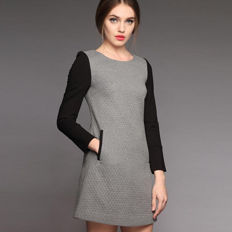 c96f370759c52 elbise gri siyah uzun kollu mini kadın | KOKOSBAYAN.com'da!