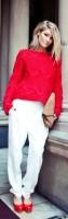 en tarz beyaz pantolon kombinleri