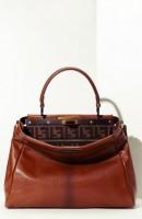 fendi deri kahverengi kol çantası