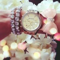 gümüş kol saati kadın Michael kors taşlı bileklik