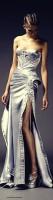 gümüş rengi straplez yırtmaçlı gece abiye elbise versace