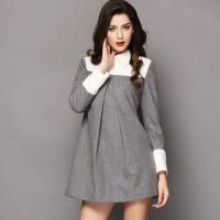gri beyaz uzun kollu rahat kadın elbisesi