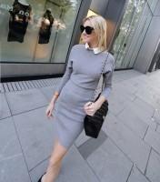 gri beyaz yakalı triko kadın elbise siyah çanta