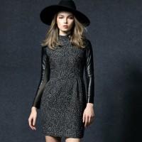 gri siyah deri detaylı kadın elbise