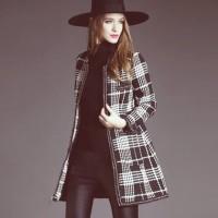 gri siyah ekose desenli kadın ceket hırka mont kaban deri pantalon