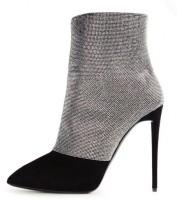 gri siyah kısa bilekte topuklu bot modeli