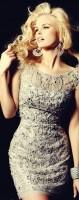 gri taşlı dantelli gece abiye kısa elbise