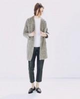 gri uzun kaşe mont kaban ceket kadın zara