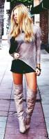 gri uzun kazak kadın mini siyah etek gri diz üstü çizme bot