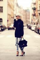 jean kot boyfriend kadın siyah çanta ceket