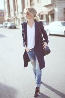 jean kot uzun siyah ceket moda topuklu ayakkabı kadın