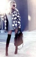 kürk mont ceket gri triko elbise kadın çanta deri uzun diz üstü çizme bot