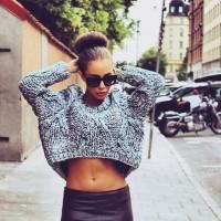 kış mini kazak top crop siyah kadın gözlük