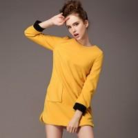 kışlık sarı kadın elbise kısa