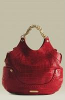 kırmızı deri zincir askılı kol çantası versace