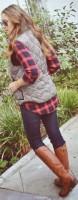kırmızı ekose kadın gömlek yelek uzun çizme taba