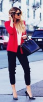 kırmızı kadın blazer ceket siyah dar paça pantalon stiletto ayakkabı