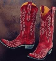 kırmızı nubuk işlemeli kovboy çizme biker bot