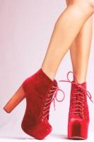 kırmızı süet kadın Jeffrey Campbell bot ayakkabı