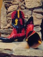 kırmızı siyah deri biker bot kovboy çizme