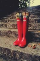 kırmızı yağmur botu çizme hunter