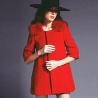 kırmızı yakası kürklü kaşe kadın trend ceket