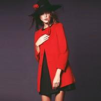 kaşe uzun kadın mont kırmızı ceket mont
