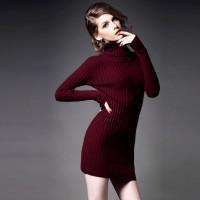 kadın bordo triko boğazlı elbise