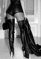 kadın deri ceket siyah uzun diz üstü çizme bot