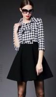 kadın ekose siyah mini kısa elbise