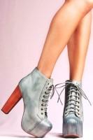 kadın parlak gri Jeffrey Campbell ayakkabı tarz bot