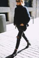 kadın siyah boğazlı yün kazak