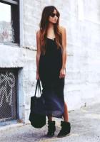 kadın siyah isabel marant uzun etek siyah çanta gizli topuk