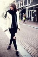 kadın tarz siyah yırtık kot jean boyfriend moda kombin