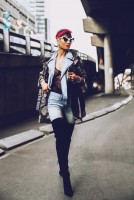 kadın uzun ceket jean kot gömlek kot pantalon uzun siyah diz üstü süet bot çizme